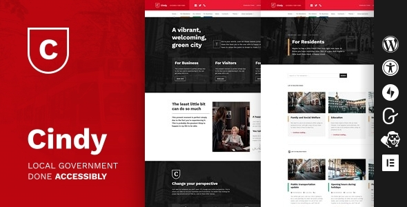 Cindy Accessible Local Government WordPress Theme